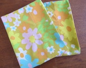 "Vintage Pillowcase Pair - Orange Lily of the Valley - 31"" x 20"""