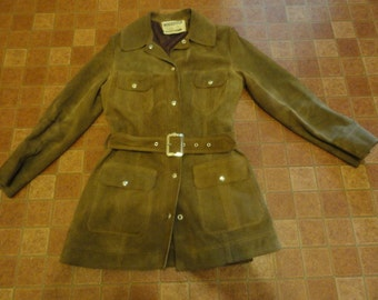 Vintage 1960's Brown Suede Leather WOODSTOCK Hippie Boho Belted Jacket Size-XL