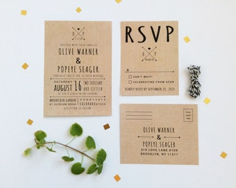 Rustic Wedding Invitation & RSVP Postcard - Wood Background Woodland Wedding - Printable DIY
