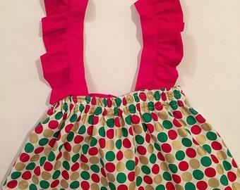 Christmas Dots Flutter Straps Skirt