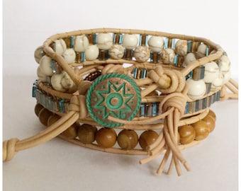 Beaded Leather Wrap Bracelets - White Turquoise Magnesite - Miyuki square Beads- Tan Leather - Artisan Boho Chic