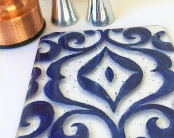Painted Hot Plate, Fused Glass Trivet, Blue Kitchen Decor