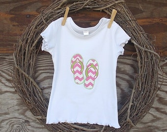 Girls Appliqued Shirt, Flip Flop Applique Shirt,  Embroidered Tee Shirt, Girls Shirt,