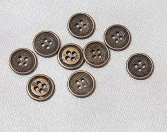 17 Vintage Small Metal 4 Hole Button Collection in 2 Sizes. Antiqued Brass Tone. Delicate Ornate Design. Button Lot. Sewing, Crafts. 3875MC