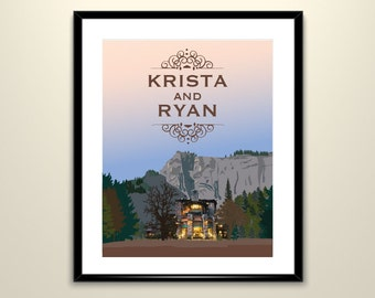 Majestic Yosemite Hotel (Ahwahnee) Poster 11x14 Landscape Vintage Travel Poster - Can personalize with Names and date (frame not included)
