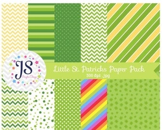 80% OFF - INSTANT DOWNLOAD - Little St Patricks Day Digital Papers for Personal and Commercial Use