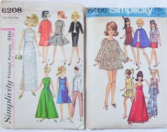 Vintage Barbie Sewing Patterns 1960s Simplicity 6208 8466