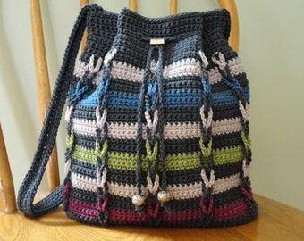 Drawstring Shoulder Bag Gray Blue Green Magenta Stripes Lined Pockets Crochet Purse