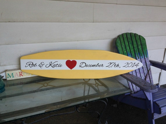 4 Foot wood surfboard wedding/party sign in guest book.  Custom, any color and different designs.