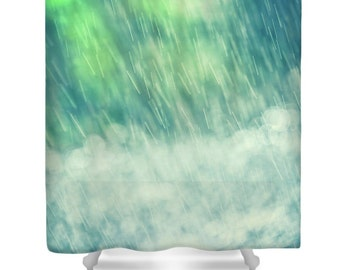 Bathroom Shower Curtain -Summer Splash All Year -Rain Falling With Pretty Bokeh Blur -Home Decor -Designer Bathroom Shower Curtain
