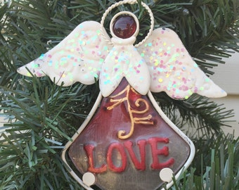 Jeweled White & Red Angel Dangler-Sun Catcher-Embossed w/Love-Hanging Angel Sun Catcher - Christian Encouragement - Gift for Mom