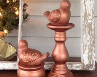 Metallic Copper Birds on Pedestals - Set of 2 Cottage Chic Victorian