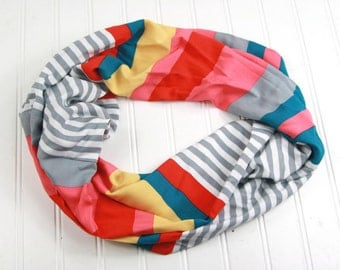 Striped Infinity Scarf, Single or Double Loop Scarf, Womens Gift, ladies Lightweight Scarf, Striped Spring Scarf, Monogrammed Gift Scarf