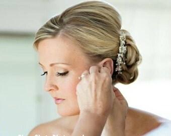 Flower Bridal Comb, Bridal Hair Comb, Wedding Hair Accessories, Bridal Headpieces, Bridal Hair Jewelry, Pearl Bridal  Hair Comb, ALLISON