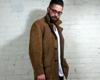 Suede Mens Jacket 1960s Vintage Brown Nubuck Coat Zip Out Lining Mens Size 40 Button Up Buttery Nap Fall 2 Winter The Leather Shop Sears USA