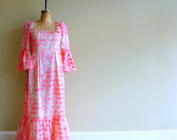 Richilene Gown LARGE XL 1980s Maxi Dress Pink White Abstract Striped Silk Satin & Organza Trumpet Sleeves Couture Party Dress I.Magnin USA