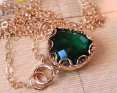 Gold-Filled Necklace, Vintage Inspired, Emerald Green Glass Charm