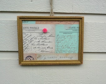 Vintage gold wood frame, with a Post Card themed magnetic insert, includes magnet for photo display, french or cottage chic decor idea