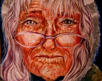 "ORIGINAL watercolor portrait, NOT a print. ""Searching"""