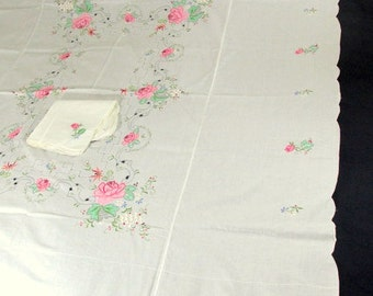 """SALE Vintage Tablecloth and 8 Napkins White Cotton with Floral Embroidery Tablecloth  72"""" x 90"""" NOSWT Brand New"""