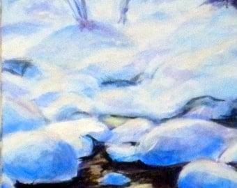 "Fine Art 5 X 7 Print of my Original Painting ""Golden Reflection"""