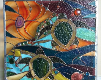 Stained Glass Sea Turtles  Window Transom Panel w Agates OOAK