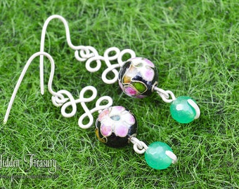Geisha Girl Silver Jade Earrings handmade sterling 925 gemstone sakura cherry blossom jewelry