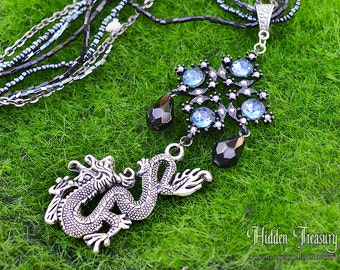 Oriental Dragon Necklace- handmade black and blue dragon pendant jewelry charm