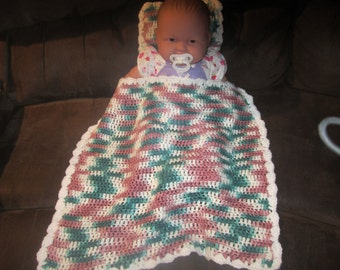 Jade Camouflage Baby Doll Blanket and Pillow Set