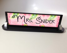 Personalized Name Plate - Custom Business Desk Name Sign Plaque in Acrylic with Choice of Designs and/or Logo paisley