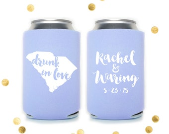 Drunk in Love - Custom Can Cooler - Engagement Party - Wedding Favor Party Gift Personalized Coolie Huggie Reception Stubby Holder Koosie