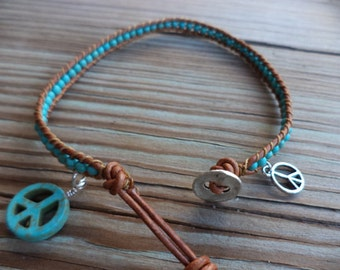 Peace Sign Turquoise Blue Bohemian Leather Anklet Leather Jewelry Boho Chic