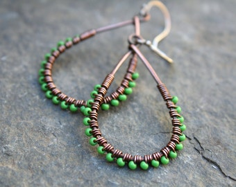 Teardrop Earrings, Oxidized Copper, Clearance, Seed Bead Earrings, Teardrop,  Wire Wrapped Earrings, Green Earrings, Lightweight Earrings