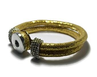 Gold PU  Leather Snap Bracelet