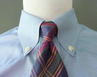 BEAUTIFUL Vintage Edgar of Scotland 100% Pure Silk Plaid Tartan Nubby Slubby Trad / Ivy League Neck Tie.  Made in Scotland.