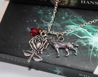 Beauty and the Beast Fairy Tale  Inspired Rose and Wolf Charm Necklace