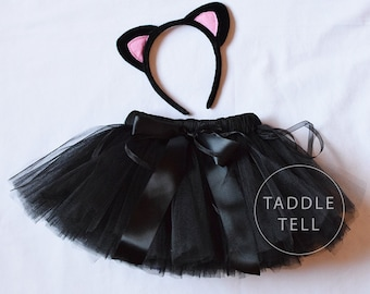 BLACK CAT Halloween Costume Tutu, Includes Tutu, Ear Headband - Sizes 18, 24 Months, 2t, 3t, 4t, 5t