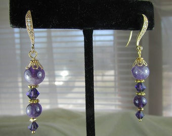 Amethyst and Swarovski crystal gold earrings