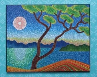 Colorful Print Laminated on woodblock- Beautiful Arbutus Tree