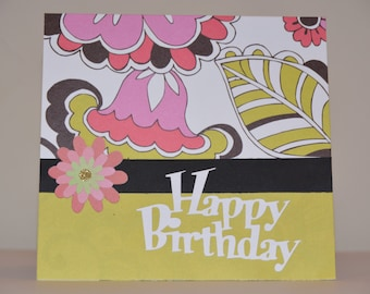 Retro Floral Greeting Card
