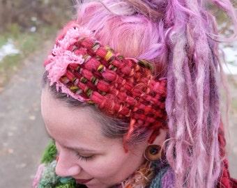 Red boho headband Dreadlocks headband Dreadlocks wrap Gypsy headband Red woman headband Ready to ship Red hair wrap Festival accessories