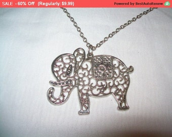 SALE 60% Off Elephant pendant, lucky elephant, Vintage elephant pendant necklace, 70s jewelry