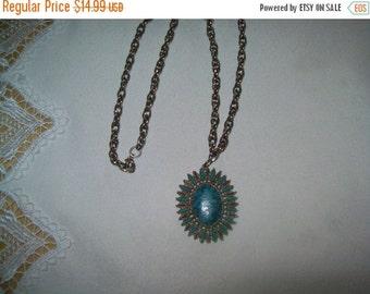 50% OFF Vintage turquoise pendant necklace, faux turquoise pendant necklace