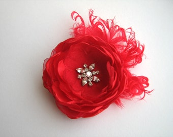 Red hair clip Flower hair piece Head piece Fascinator with feathers