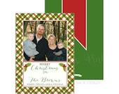Christmas Plaid Photo Card with Holly   Merry Christmas   Printable OR Professionally Printed   5x7