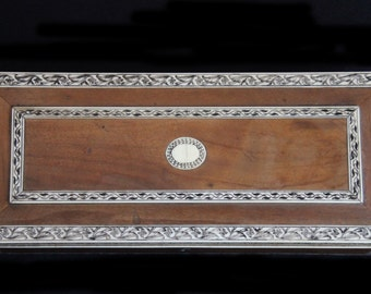 Beautiful Antique Inlaid Wooden Glove Box  w Fabulous Incised Leafy Details-Jewelry Box