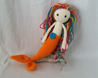 Crochet Mermaid Amigurumi Doll Orange