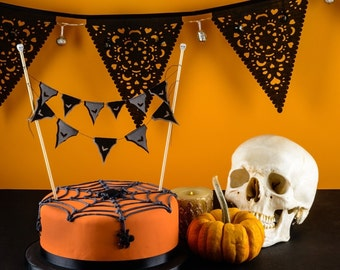 Spooky Halloween Bat Cake Bunting topper - Black and grey fabrics in 2 sizes