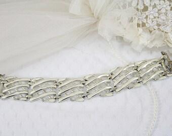 White Enameled Coro Bracelet Vintage Basket Weave Bracelet Perfect for Any Occasion