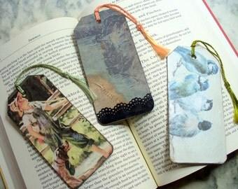 Wood Tag Book Marks, Decoupoge Bookmark, Wood Book mark, Paper Bookmark, Book Lover, Ornament, Birds, Fishing. Pirate Ship, DLAbeaddesign
